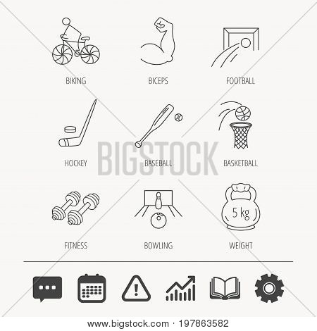 Ice hockey, football and basketball icons. Fitness sport, baseball and bowling linear signs. Biking, weightlifting icons. Education book, Graph chart and Chat signs. Vector