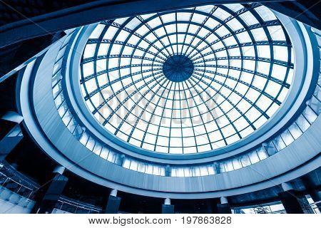 modern mall atrium round ceiling,low angle.