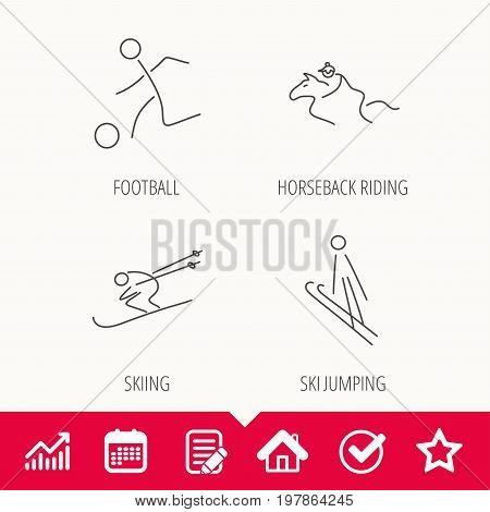 Horseback riding, football and skiing icons. Ski jumping linear sign. Edit document, Calendar and Graph chart signs. Star, Check and House web icons. Vector