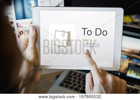 Illustration of personal organizer notepad on digital tablet