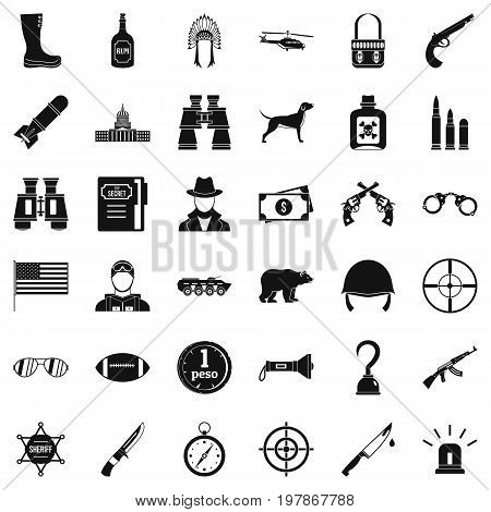Hunting icons set. Simple style of 36 hunting vector icons for web isolated on white background