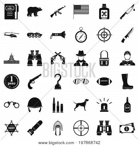 Gun icons set. Simple style of 36 gun vector icons for web isolated on white background