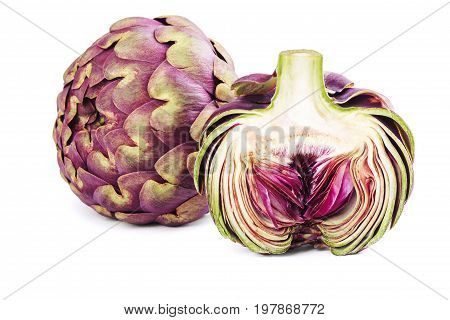 Whole and Slice artichoke isolated on the white background.