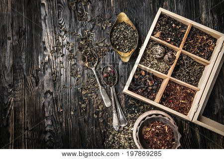 variety of teas, mixes in copper dish, topview