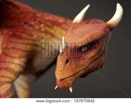 3d rendering of the red dragon isolated