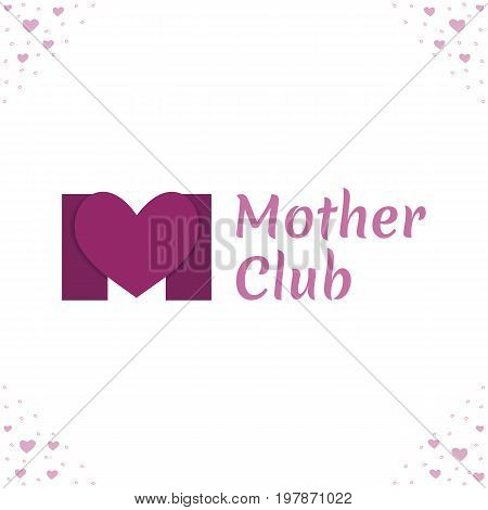 Vector logo template for mother club care during pregnancy protection pregnancy support. The letter M and the heart in purple color.
