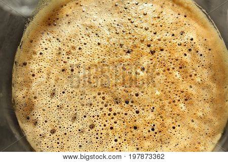 Cold brew coffee froth, closeup
