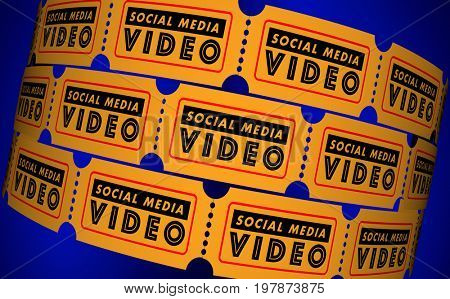 Social Media Video Movies Posts Viewers Tickets 3d Illustration