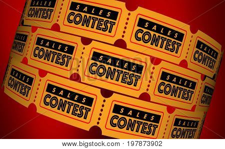Sales Contest Competition Sell More Most Tickets 3d Illustration