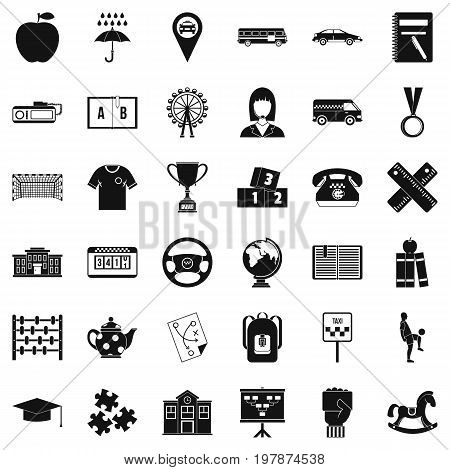 Bus stop icons set. Simple style of 36 bus stop vector icons for web isolated on white background
