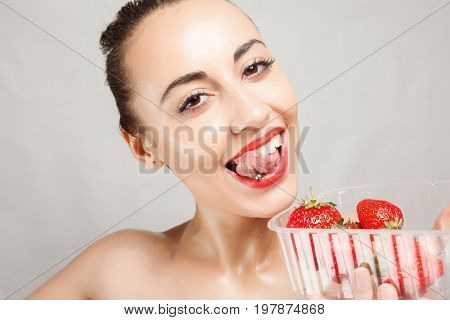 Sexy Woman Eating Strawberry
