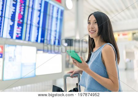 Woman go travel in airport