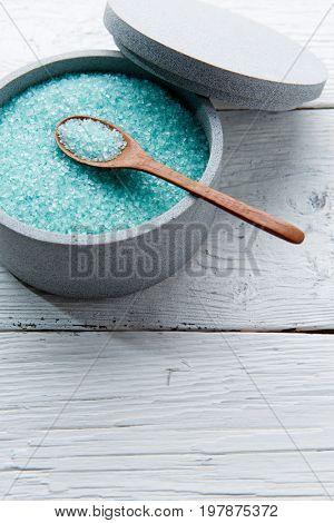 Salt for bath on table
