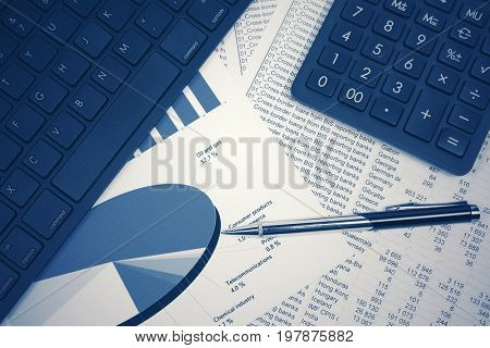 Financial accounting. Stock market graphs and charts analysis