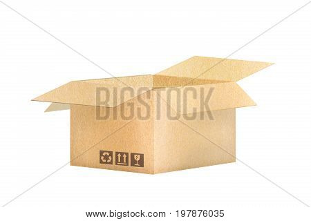 Brown carton open packaging the goods concept. isolated on white background delivery for banner icon logo graphic infor.
