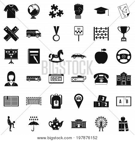 Bus driver icons set. Simple style of 36 bus driver vector icons for web isolated on white background