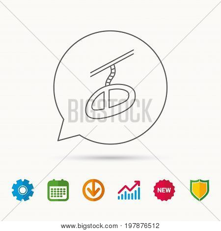 Teleferic icon. Telpher cable-railway sign. Calendar, Graph chart and Cogwheel signs. Download and Shield web icons. Vector