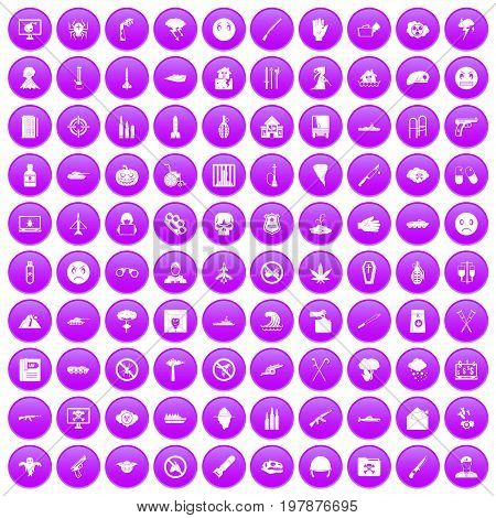 100 oppression icons set in purple circle isolated vector illustration poster