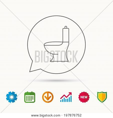 Toilet icon. Public WC sign. Calendar, Graph chart and Cogwheel signs. Download and Shield web icons. Vector