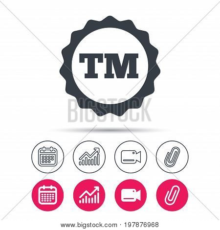 Registered TM trademark icon. Intellectual work protection symbol. Statistics chart, calendar and video camera signs. Attachment clip web icons. Vector