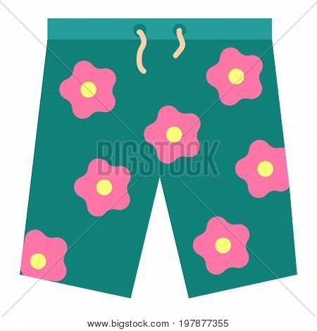 Summer bermuda shorts icon, vector illustration flat style design isolated on white. Colorful graphics