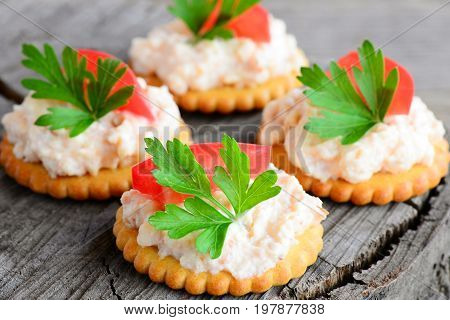 Canape made from cookies with spicy soft cheese, tomato slice and parsley leaf. Delicious canape on a wooden background. Simple appetizer recipe. Closeup