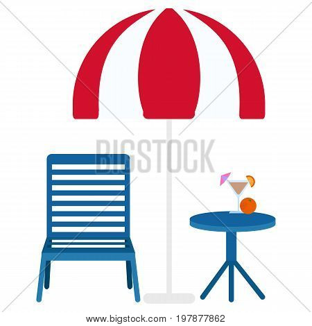 Loungers under umbrella and cocktail  icon, vector illustration flat style design isolated on white. Colorful graphics