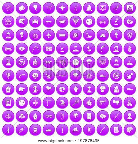 100 phobias icons set in purple circle isolated vector illustration