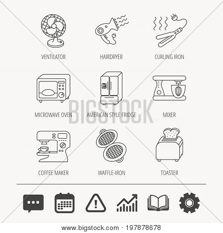 Microwave oven, hair dryer and blender icons. Refrigerator fridge, coffee maker and toaster linear signs. Ventilator, curling iron and waffle-iron icons. Education book, Graph chart and Chat signs