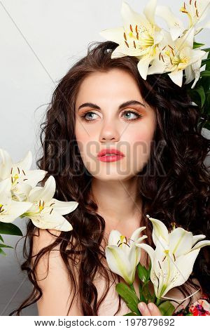 Beauty Girl Takes Beautiful Flowers