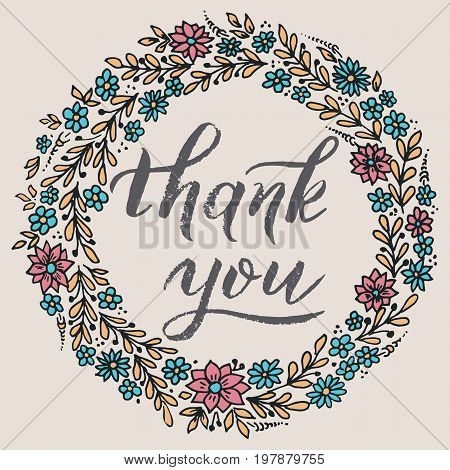 Thank you card with floral background artwork. Elegant ornate floral background. Floral background and elegant flower elements. Design template