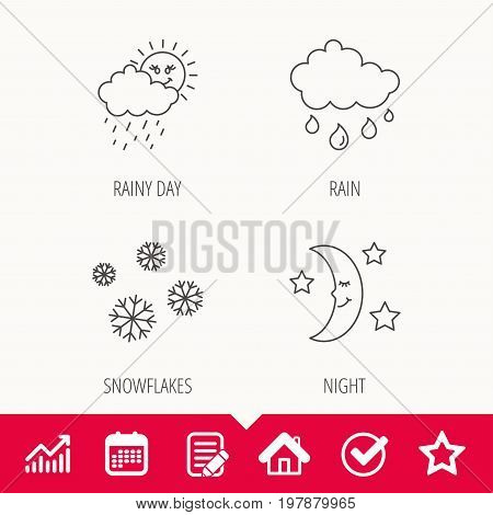 Weather, snowflakes and rain icons. Moon night linear sign. Edit document, Calendar and Graph chart signs. Star, Check and House web icons. Vector