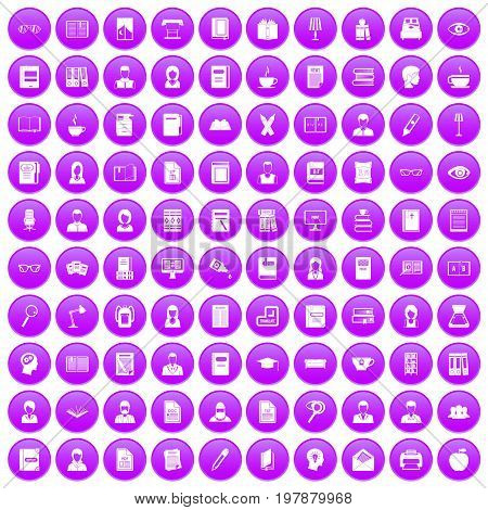 100 reader icons set in purple circle isolated vector illustration
