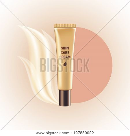 Vector illustration of a blank golden tube of expensive cosmetic skin care cream. Template for expensive cosmetics. Mockup. EPS 10