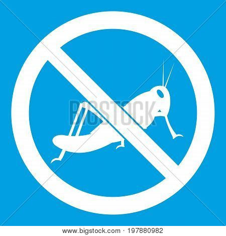 No locust sign icon white isolated on blue background vector illustration
