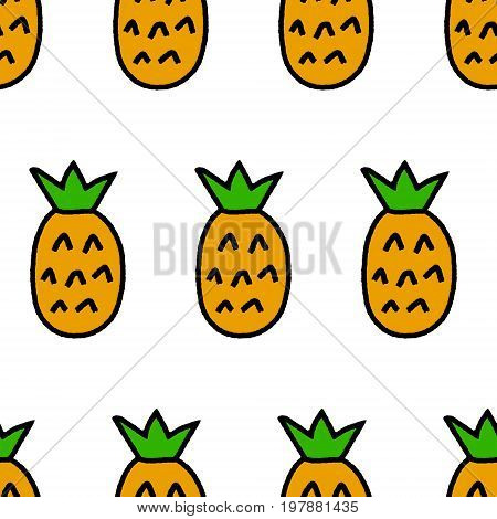 Simple pineapples on white seamless pattern, vector background