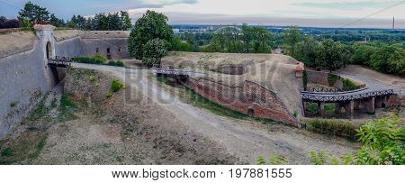 Panoramic view of Petrovaradin fortress in Novi Sad Serbia.