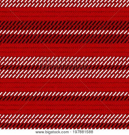Red black and white rug woven striped fabric seamless pattern, vector background