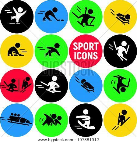 Vector set of flat sport icons isolated on colorful round backgrounds. Winter sports illustration. Human figures. Active lifestyle, season activities. Competition sign and symbol collection.