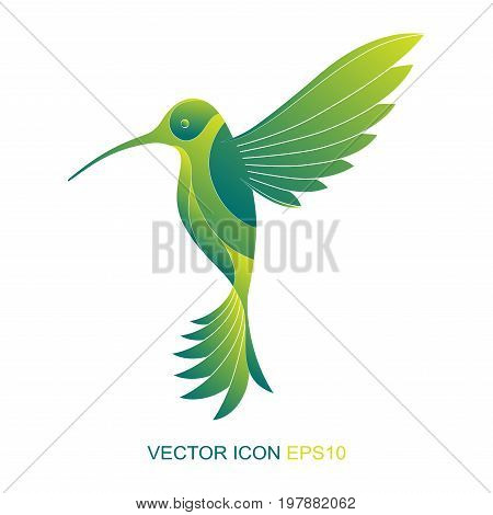 Silhouette of a hummingbird. Logo.  A flat icon. Vector illustration. A kind of bird with a side.