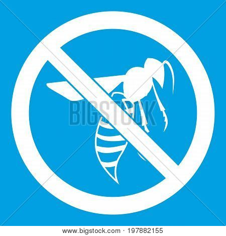 No wasp sign icon white isolated on blue background vector illustration