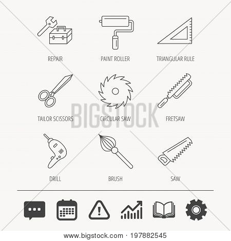 Scissors, paint roller and repair tools icons. Fretsaw, circular saw and brush linear signs. Triangular rule, drill icons. Education book, Graph chart and Chat signs. Vector