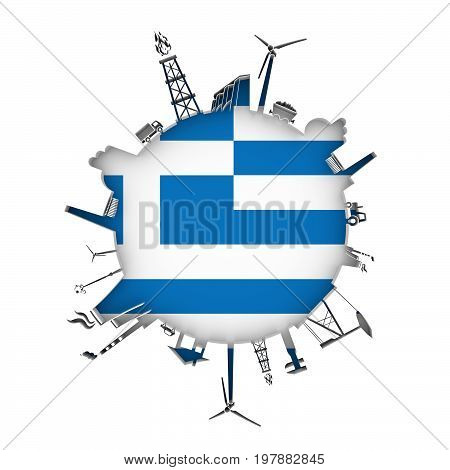 Circle with industry relative silhouettes. Objects located around the circle. Industrial design background. Flag of Greece in the center. 3D rendering.