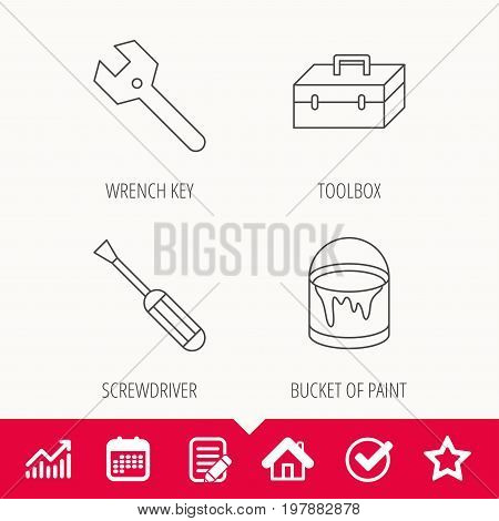 Wrench key, screwdriver and paint bucket icons. Toolbox linear sign. Edit document, Calendar and Graph chart signs. Star, Check and House web icons. Vector