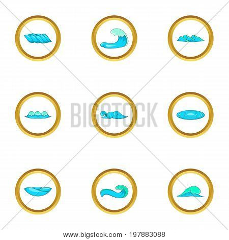 Surf waves icons set. Cartoon set of 9 surf waves vector icons for web isolated on white background