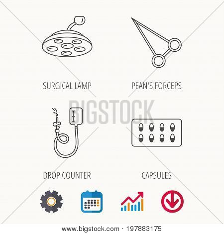 Drop counter, capsules and surgical lamp icons. Peans forceps linear sign. Calendar, Graph chart and Cogwheel signs. Download colored web icon. Vector