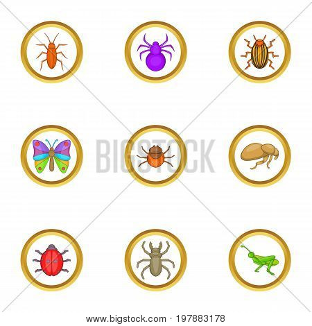 Different insects icons set. Cartoon set of 9 different insects vector icons for web isolated on white background