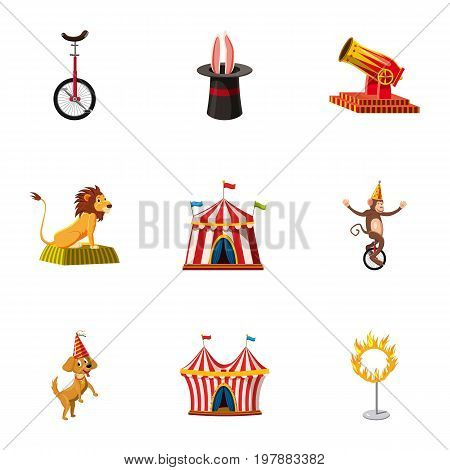 Circus show icons set. Cartoon set of 9 circus show vector icons for web isolated on white background