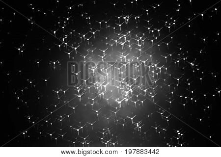 Horizontal black and white particles in space hd