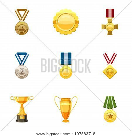 Honorable medals icons set. Cartoon set of 9 honorable medals vector icons for web isolated on white background